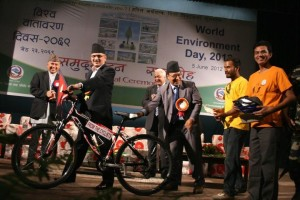 Bicycle Handed Over to PM Bhattarai- Media Coverage